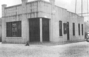 Bank of Erath was built in 1910 on the corner of Broadway and Edwards in Erath. (Note: You can see the legs of the Water Tower which collapsed on the Erath City Hall on October 3, 1964.)